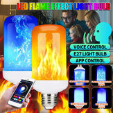 E27 6W Smart APP bluetooth LED Flame Effect Light Bulb 4 Modes Colorful Lamp for Indoor Home Decoration AC85-265V