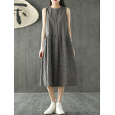 Women Sleeveless Plaid O-neck Pockets Dress