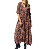 Bohemian Short Sleeve V-neck Floral Print Casual Dress