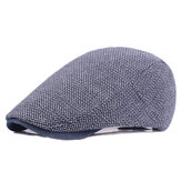 Mens Cotton Solid Beret Caps Casual Summer Sunscreen Forward Caps Flat Chapéu