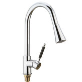 Kitchen Basin Sink Pull Out Tap Faucet Swivel Gooseneck Spout Spray Water Mixer