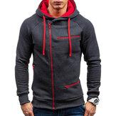 पुरुषोंकीआरामदायकजिपरसजावटड्रॉस्ट्रिंग हुडेड स्वेटशर्ट