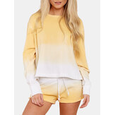 Kadınlar Sarı Degrade Yuvarlak Boyun Uzun Kollu İpli Ev Basit Pijama Takımı