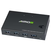 AIMOS USB HDMI Switch Caja Video Switch Pantalla 4K Splitter KVM Switch para 2 PC Share Switcher Teclado ratón Impresora Plug and Play