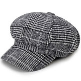 Cotton Leisure Newsboy Berets Caps Plaid Stripe Hats