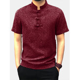 Mannen Casual Korte Mouw Stand Kraag Chinese Stijl Knop Shirts Kung Fu Tops Tee