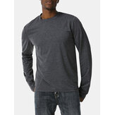 Mens Sinple Round Neck Solid Color Long Sleeve High-low Hem T-Shirts