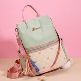 Women Patchwork Tassel Embroidery Thread Love Multi-carry Backpack