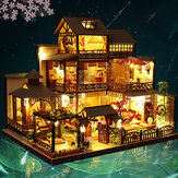 1:24 Scale Creative Doll House Miniature Wooden Furniture Kit Mini Handmade Big Japanese Courtyard Model Plus with LED & Music Box