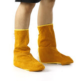Yellow Gardening Cowhide Leather Welding Feet Shoe Cover Protector Men Women