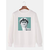 Funny David Statue Print Cotton Pullover Long Sleeve Drop Shoulder Sweatshirts For Men