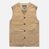 Mens Plus Size Outdoor Mesh Breathable Pockets Cotton Vest