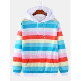 Mens Colorful Horizontal Stripes Loose Fit Drawstring Hoodies With Kangaroo Pocket