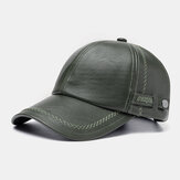 Collrown Men Faux leather Casual Retro Personality Leather Sunshade Baseball Hat