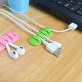 Bakeey 5 Slots Sticky Silicone Desktop Earphone USB Organizer Cable Management Holders