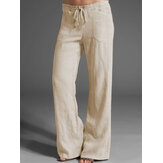 Women Solid Color High Drawstring Waist Loose Casual Pants With Pocket