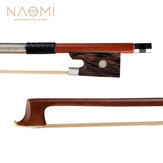 NAOMI 4/4 Violin Bow Rosewood Bowstick Ebony Frog Sheep Leather Wrap with Mongolia Horse Hair Strings Accessories