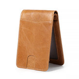 Men RFID Cowhide 4 Card Slot Purse Vintage Slim Wallet