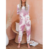 Tie-dye Print Casual Top High Waist Harem Pants Two-Piece Set