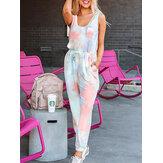 Tie Dye Print Sports loungewear-set Tanktop Balkvoeten Mouwloze tweedelige set