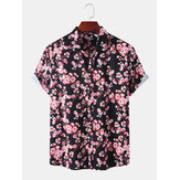 メンズホリデーさくらプリント半袖カジュアルシャツ