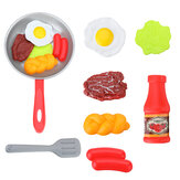 8PCS Children Kitchen Food Toys Simulation Frying Pan Set with Vegetables Steak for Kid Activity