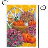 28 '' x 40 '' Kürbis Wagon Wheel Fall Herbst dekorative Haus Flagge große Banner Dekorationen