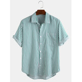 Mens Fashion Stripe Prático Pocket Respirável Turn Down Collar Casual Shirts