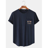 Text Print Round Neeck Navy Short Sleeve T-Shirts With Pocket