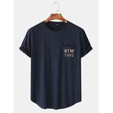 T-shirts à manches courtes et imprimé ronds Neeck Navy avec poche