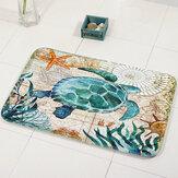 MiracilleMarineStyleDoorMatFloor Carpet For Living Room Sea Tortuga Patrón Coral Fleece Alfombra felpudo antideslizante decoración para el hogar
