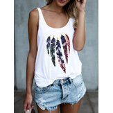 Feather Animal Print Round Neck Sleeveless Tank Tops