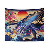 Tapestry 3D Great Japanese Sea Ocean Wave Whale Sunset Home Store Hanging Decor