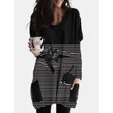 Women Striped Black Cat Print Patchwork O-Neck Casual Blouse With Pockets