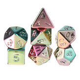 7Pcs Colorful Polyhedral Dice Resin Plating Dices Set Role Playing Board Party Table Game Gift