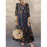 Bohemian Vintage Floral Print Patchwork Meia manga Holiday Maxi Dress