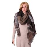 女性の暖かいカシミアタッセルショールチェックラップストール