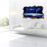 MIICO Creative 3D Universe Planet Broken Wall Removable Home Room Decorative Wall Decor Sticker