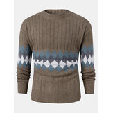 Mens Vintage Argyle Pattern Rib-Knit Cotton Long Sleeve Pullover Sweaters