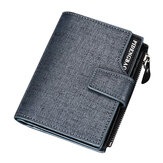 Men PU Leather Casual Wallet Hasp Zipper Credit Card Holder Coin Bag