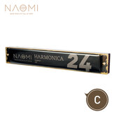 NAOMI 24 Holes Tremolo Harmonica Key of C Stainless Steel Mouth Organ Harmonicas with Case