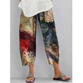 Vintage Floral Print cintura elástica Irregular Hem Casual Pocket Calças Para Mulheres