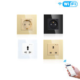 Moeshouse WiFi Smart Wall Soket Çıkışlı Cam Panel Smart Life / Tuya APP Uzakdan Kumanda EU FR UK AU