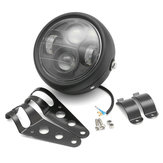 12V Black LED Motorcycle Projector Headlights with Bracket Cafe Racer