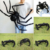 Halloween Black Plush Giant Spider Realistic Hairy Spider Haunted House Prop Halloween Party Scary Decoration