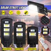 100/200 / 300COB LED Poste solar PIR Radar de movimento Sensor Lâmpada de parede ao ar livre + Controle remoto