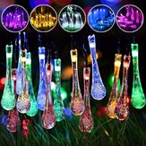 Zasilany energią słoneczną Odkryty 50 LED Droplet Fairy String Light Wedding Wedding Party Home Decor Lampa DC3V