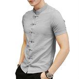 Çin Düğüm Toka Vintage Chic Mandarin Yaka Erkek Gömlek