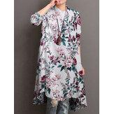 Dames 100% katoen bloemenprint opstaande kraag lange mouw onregelmatige zoom vintage blouses