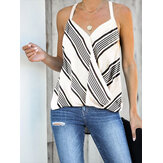 Stripe Halter V-neck Sleeveless Summer Casual Cami